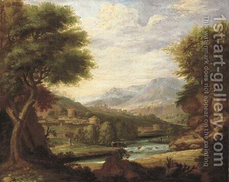 An extensive classical Italianate landscape with figures by a river, a town beyond by (after) Jan Joost Von Cossiau - Reproduction Oil Painting