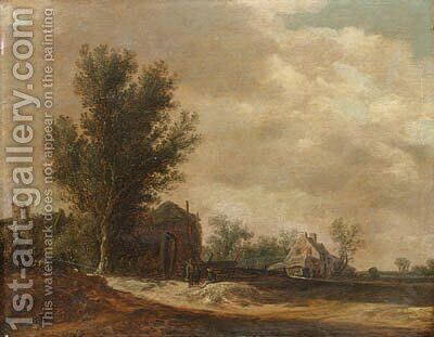 A landscape with peasants beside a hamlet by (after) Jan Van Goyen - Reproduction Oil Painting