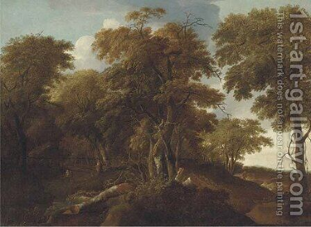 An extensive wooded landscape with travellers on a track by (after) Jan Lagoor - Reproduction Oil Painting