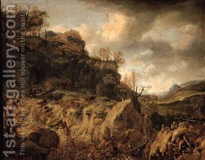 An extensive mountainous landscape with a huntsman and travellers on a path beyond by (after) Jan Looten - Reproduction Oil Painting