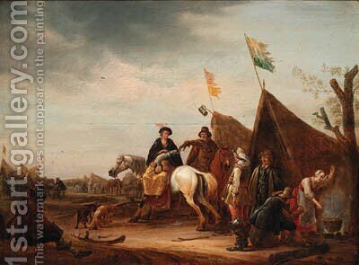 A military encampment with a lady on horseback before a tent by (after) Jacob Martsen De Jonge - Reproduction Oil Painting