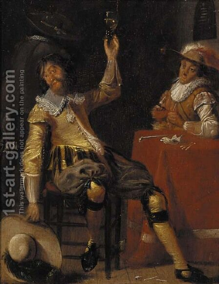 Cavaliers drinking and smoking in a tavern by (after) Jan Olis - Reproduction Oil Painting