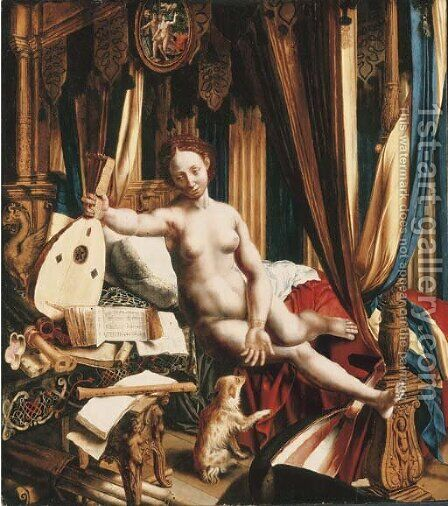An allegory of love and music by (after) Jan Sanders Van Hemessen - Reproduction Oil Painting