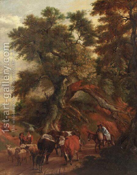 Peasants with cattle and flock returning from market on a country road by (after) Jan Siberechts - Reproduction Oil Painting