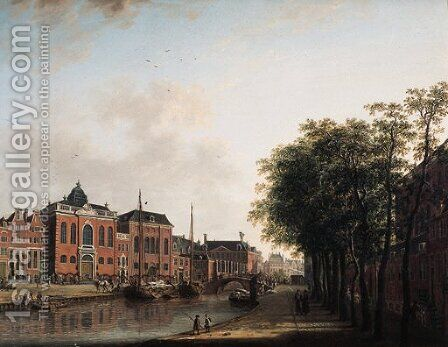 The Houtgracht, now the Daniel Meijerplein, Amsterdam by (after) Jan Ten Compe - Reproduction Oil Painting
