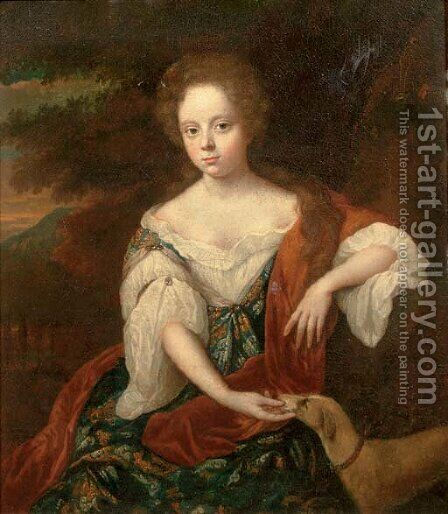 Portrait of a young lady by (after) Jan Van Haensbergen - Reproduction Oil Painting
