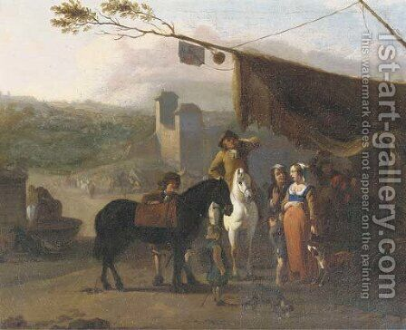 Travellers on horseback taking refreshments at an encampment near a fortified town, a water-basin with horses drinking nearby by (attr.to) Huchtenburg, Jan van - Reproduction Oil Painting