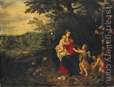 The Rest on the Flight into Egypt by (attr. to) Kessel, Jan van - Reproduction Oil Painting