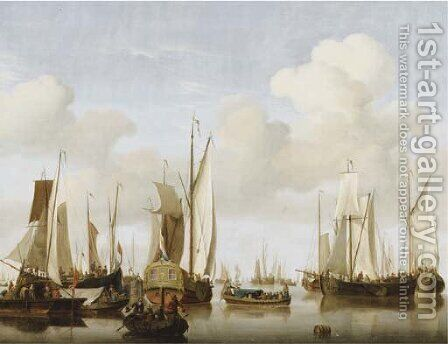 A calm with merchants in a rowing boat in the foreground before a States Yacht, numerous other saiiling boats nearby by (after) Jan Van Os - Reproduction Oil Painting