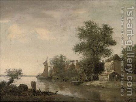 A landscape with houses by a river and figures in boats by (after) Jan Wils - Reproduction Oil Painting