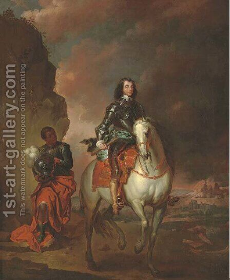 Equestrian portrait of Oliver Cromwell (1599-1658) by (after) Jan Wyck - Reproduction Oil Painting