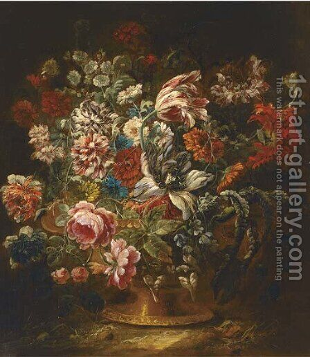 Roses, carnations, a parrot tulip and other mixed flowers in a vase by (after) Jean-Baptiste Morel - Reproduction Oil Painting