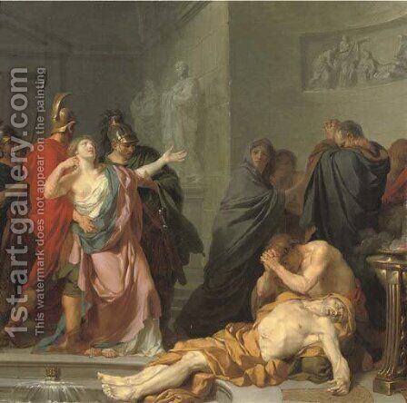 The Death of Seneca by (after) Jean Charles Nicaise Perrin - Reproduction Oil Painting
