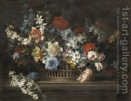 Peonies, narcissi, daffodils and other flowers in a basket on a stone ledge by (after) Jean-Baptiste Monnoyer - Reproduction Oil Painting