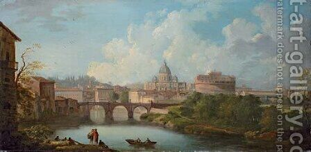 Rome A view of the Tiber, with the Castel Sant'Angelo and the Basilica of Saint Peter's by (after) Jean-Baptiste Lallemand - Reproduction Oil Painting