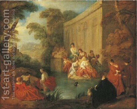 Ladies bathing at a pool before a rococo pavilion, in a wooded clearing by (after) Jean-Baptiste Joseph Pater - Reproduction Oil Painting