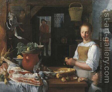 A kitchen interior with a maid and a child peeling apples by (after) Jeremias Van Winghen Or Wingen - Reproduction Oil Painting