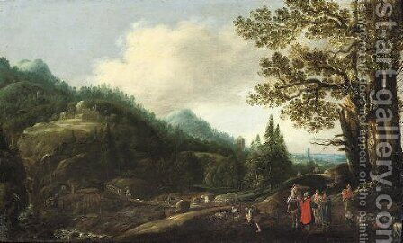 An extensive wooded landscape with the Reconcilliation of Jacob and Laban by (after) Joachim Govertsz. Camphuysen - Reproduction Oil Painting