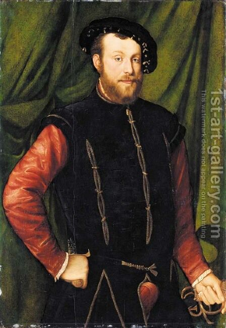 Portrait of a bearded man by (after) Jan Steven Van Calcar - Reproduction Oil Painting