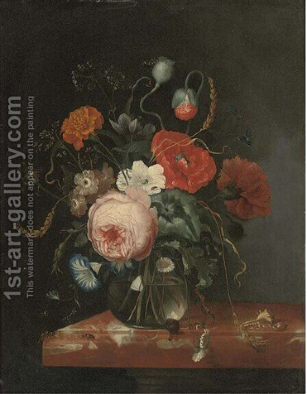 A rose, a peony, a carnation, convolvulus and other flowers in a glass vase by (after) Johann Adalbert Angermayer - Reproduction Oil Painting