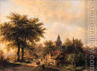 A village street in summer by (after) Johann Bernard Klombeck - Reproduction Oil Painting