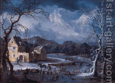 Winter landscapes with skaters and travellers on horsedrawn sledges by fortified mansions by (after) Johann Christian Vollerdt Or Vollaert - Reproduction Oil Painting