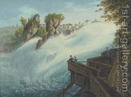 Figures observing a waterfall, thought to be at Schaffhausen on the Rhine by (after) Johann Heinrich (II) Bleuler: - Reproduction Oil Painting
