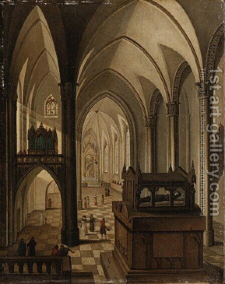 Interior of a Gothic Cathedral with elegant Figures walking in the Nave before a Tomb by (after) Johann Jakob Hoch - Reproduction Oil Painting