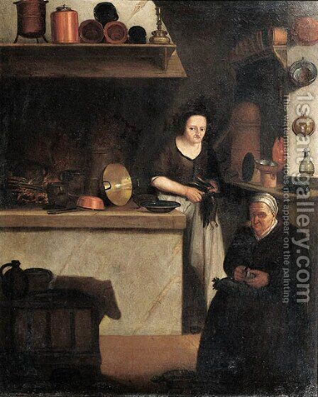 Maids at work in a kitchen by (after) Johannes Cordua - Reproduction Oil Painting