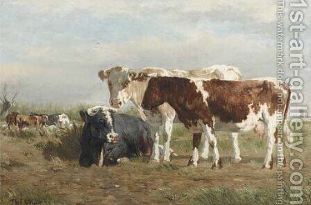 Cows along a ditch by (after) Johannes-Hubertus-Leonardus De Haas - Reproduction Oil Painting