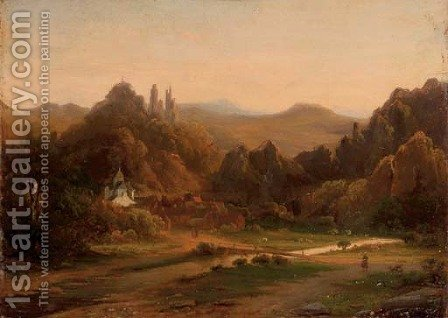 A riverside village in a valley by (after) Johannes Josephus Destree - Reproduction Oil Painting