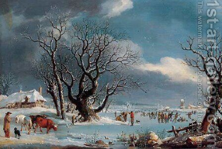 Skaters in a winter landscape by (after)  Johannes Pieter Van Wisselingh - Reproduction Oil Painting