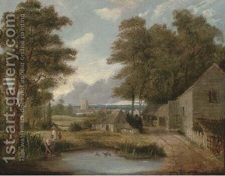 The farm pond by (after) John Berney Crome - Reproduction Oil Painting