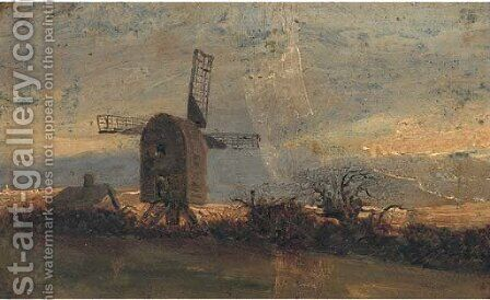 The windmill at Mousehold Heath, Norwich by (after) John Berney Crome - Reproduction Oil Painting