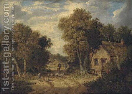 A Suffolk lane by (after) John Berney Ladbrooke - Reproduction Oil Painting