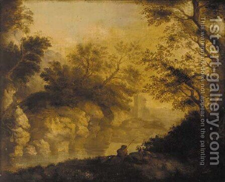 An angler in a wooded river landscape, a ruined castle beyond by (after) John Butts - Reproduction Oil Painting