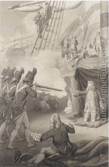 The execution of Admiral John Byng, 14th March, 1757 by (after) John The Elder Cleveley - Reproduction Oil Painting
