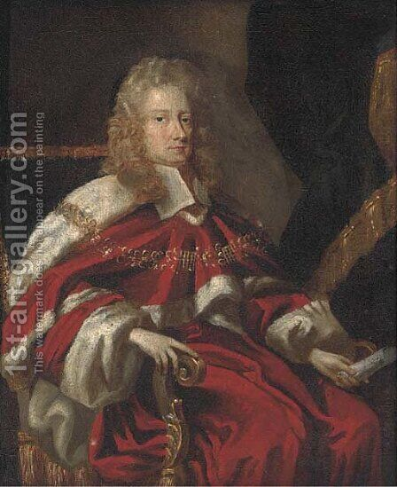 Portrait of George Jeffreys, 1st Baron Jeffreys of Wem (1648-1689), small seated three-quarter length, in robes by (attr.to) Closterman, Johann - Reproduction Oil Painting