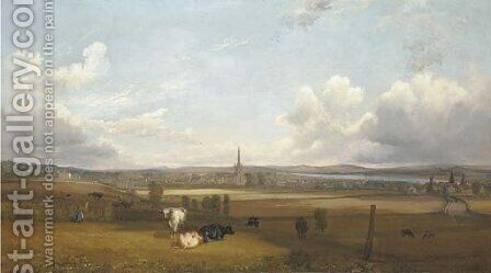 View of Alloa, with cows and figures in the foreground by (after) John Fleming - Reproduction Oil Painting