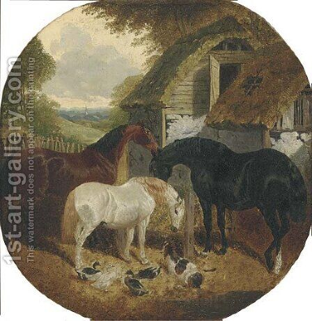Horses, ducks and a goat, in a farmyard by (after) John Frederick Jnr Herring - Reproduction Oil Painting
