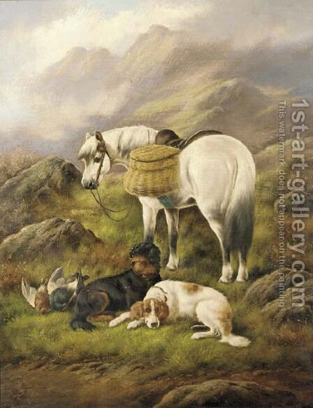 Setters and a pony with the day's bag by (after) John Gifford - Reproduction Oil Painting