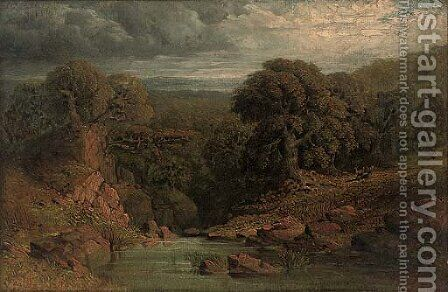 A wooded river landscape with a deer beyond by (after) John Linnell - Reproduction Oil Painting