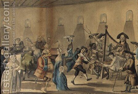 A bawdy tavern scene, probably Dublin by (after) John Nixon - Reproduction Oil Painting