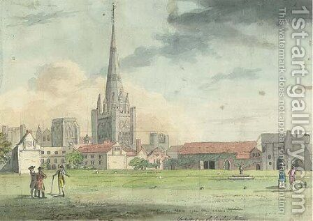 Chichester from the Bishop's Garden by (after) John Nixon - Reproduction Oil Painting