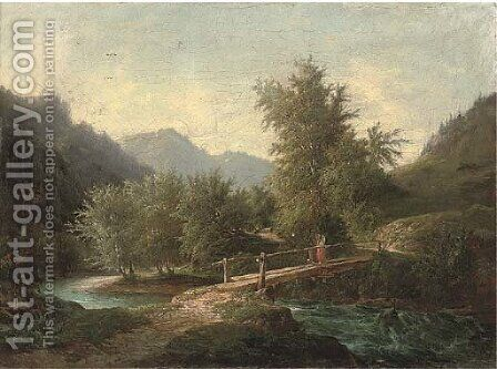 A mountainous wooded river landscape with a figure crossing a bridge by (after) John O'Connor - Reproduction Oil Painting