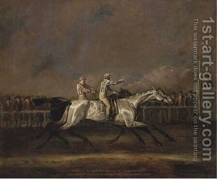 Match for 500 Guineas between Mr Heathcote's Symmetry and Sir C. Bunbury's Sorcerer, 1800 by (after) John Sinclair - Reproduction Oil Painting