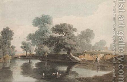 A shepherd by a tree-lined pond by (after) John Varley - Reproduction Oil Painting