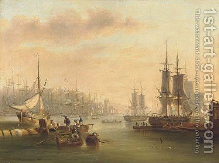 Hustle and bustle and a forest of masts in a port by (after) John Wilson Carmichael - Reproduction Oil Painting