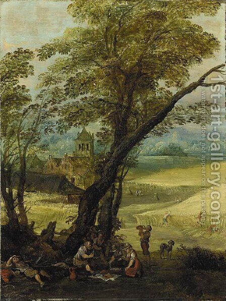 Summer An extensive landscape with harvesters resting beneath a tree by (after) Joos Or Josse De, The Younger Momper - Reproduction Oil Painting