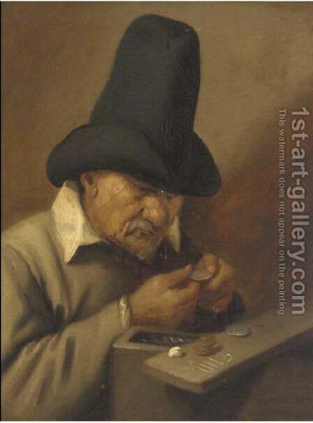A man counting money by (after) Joos Van Craesbeeck - Reproduction Oil Painting